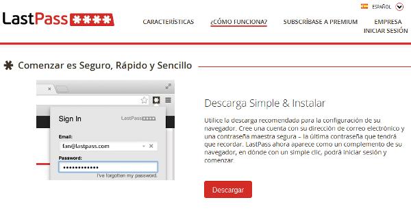Extensión para Chrome: LastPass