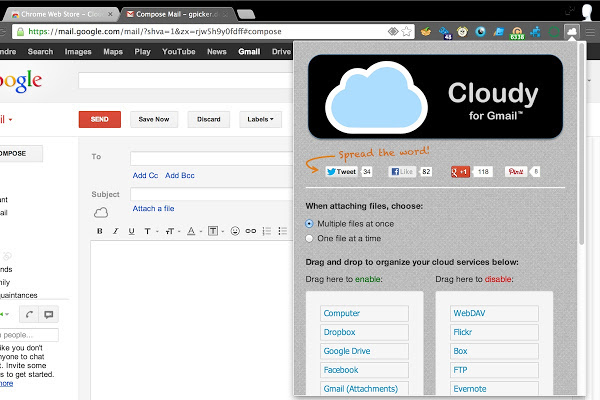 Extensión para Chrome: Cloudy for Gmail