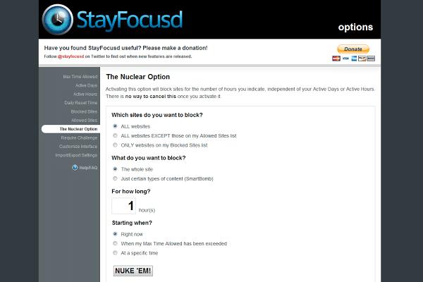 Extensión para Chrome: StayFocusd