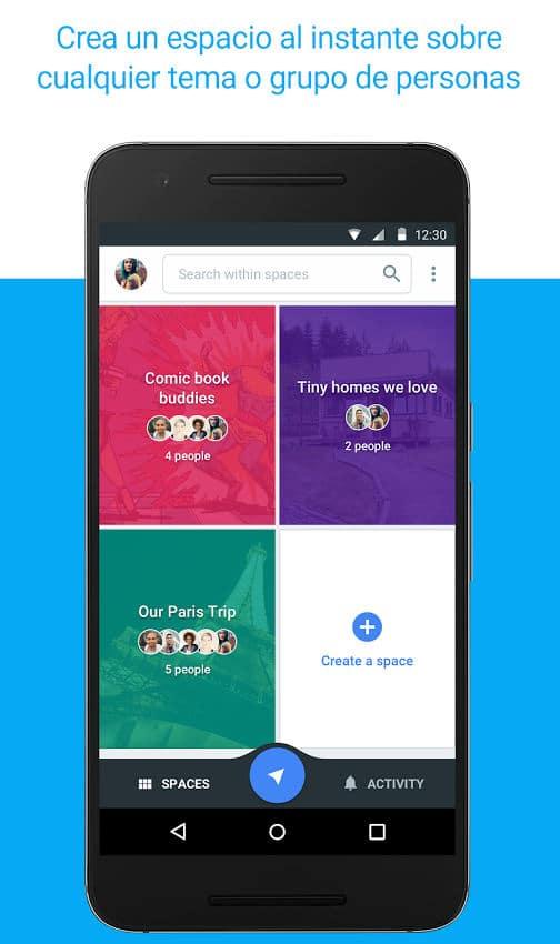 Crear un espacio en la aplicación Spaces de Google