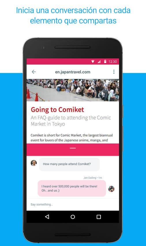 Conversación sobre contenido compartido en la aplicación Spaces de Google
