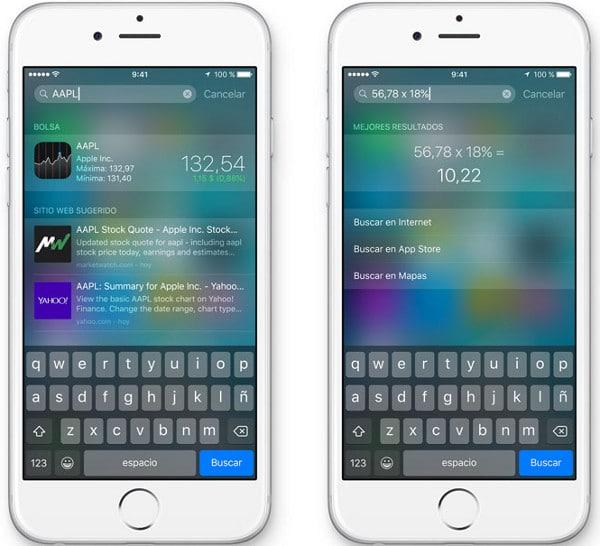 Búsquedas inteligentes de Spotlight en iOS9