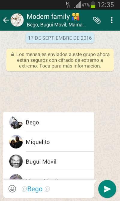 Menciones de usuario en los chat de grupo de Whatsapp