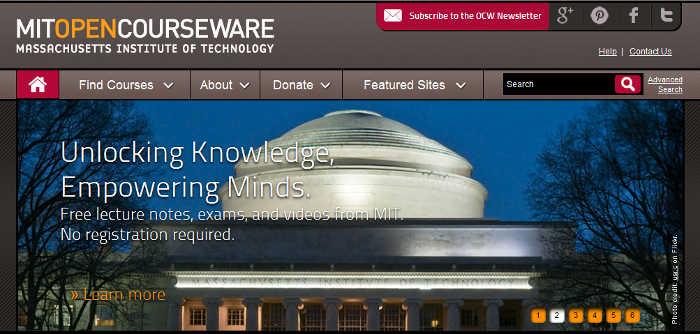 Sitios para aprender cosas nuevas en Internet: MIT OpenCourseWare
