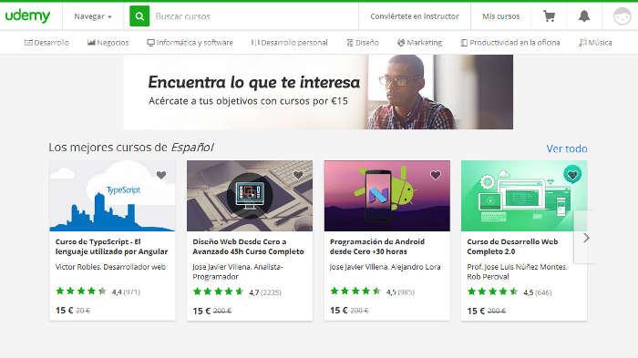 Sitios para aprender cosas nuevas en Internet: Udemy