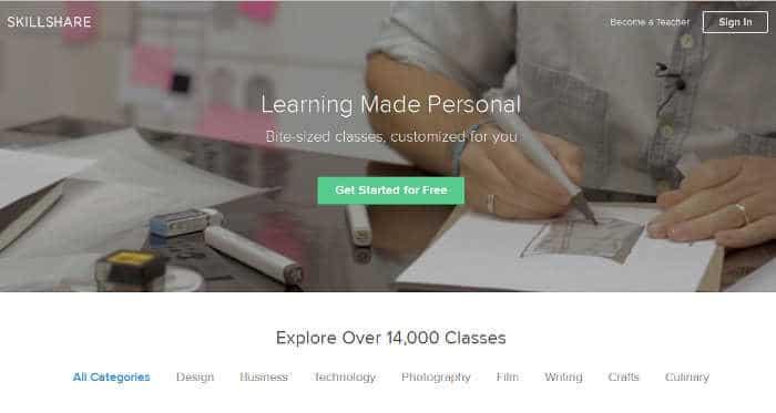 Sitios para aprender cosas nuevas en internet: Skillshare