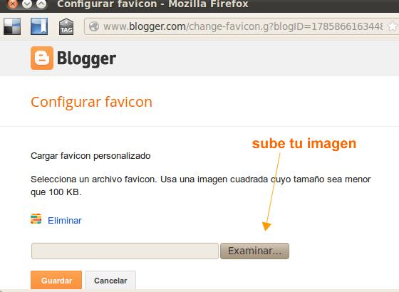 cambiar icono de blogger en las pestañas del navegador