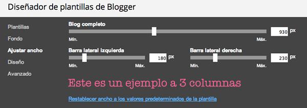 tamaño columnas blogger