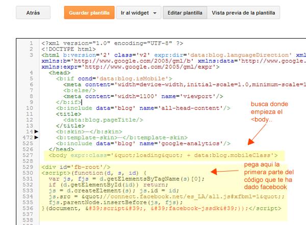paso1 para integrar like box de facebook en blogger. Pegar código en html