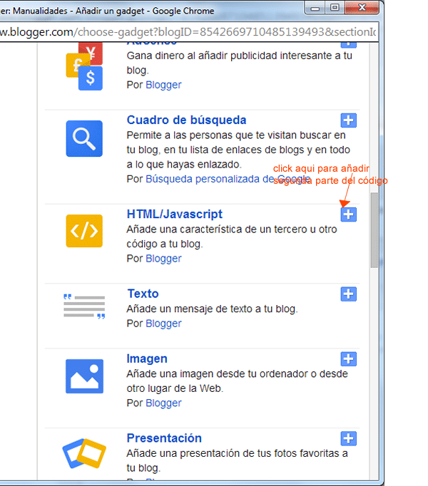 paso3 para integrar like box de facebook en blogger. Añadir html/javascript