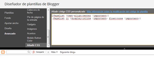 cómo centrar páginas en blogger