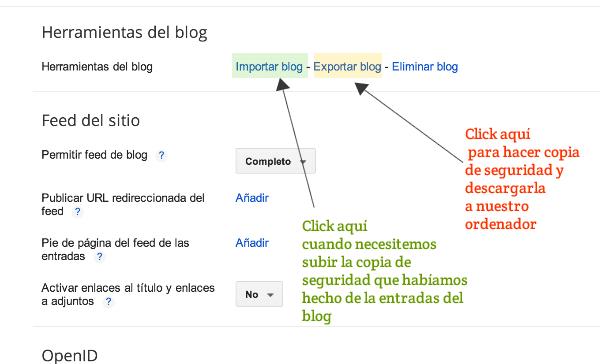 Cómo hacer copia de seguridad de las entradas del blog 2