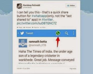 Twitter y su botón de compartir por Whatsapp (prueba en la India)