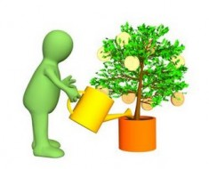 3d gardener, watering a tree with growing gold coins