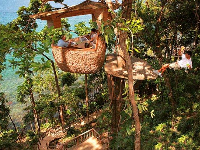 The Treepod Dining en Soneva Kiri, Koh Kood, Tailandia