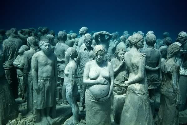 Gardens of marine sculptures in Cancun